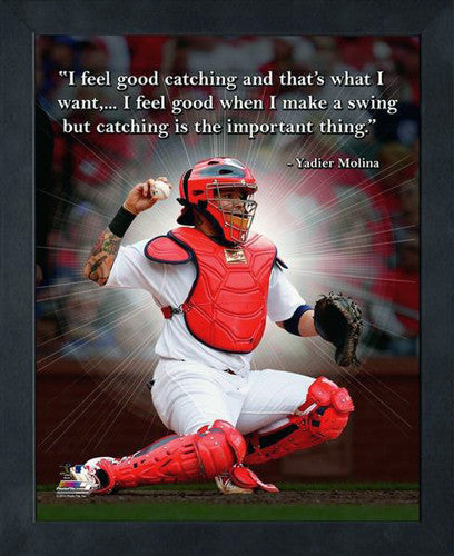"Yadier Molina ""Catching"" St. Louis Cardinals FRAMED 16x20 PRO QUOTES PRINT - Photofile"