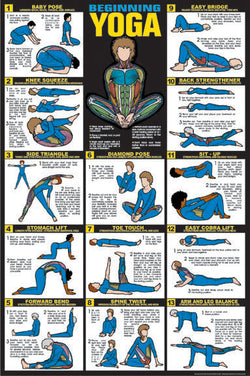 Beginning Yoga Instructional Fitness Wall Chart Poster - Fitnus Corp.