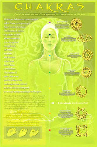 Yoga Chakras and Mudras Yoga Studio Wall Chart Poster - Eurographics Inc.