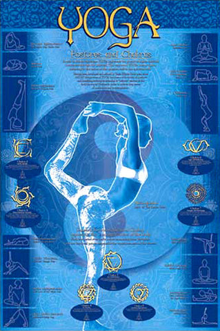 Yoga Postures and Chakras Yoga Studio Wall Chart Poster - Eurographics Inc.