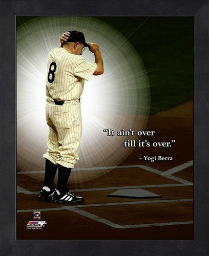 "Yogi Berra ""It Aint Over"" New York Yankees FRAMED 16x20 PRO QUOTES PRINT - Photofile"