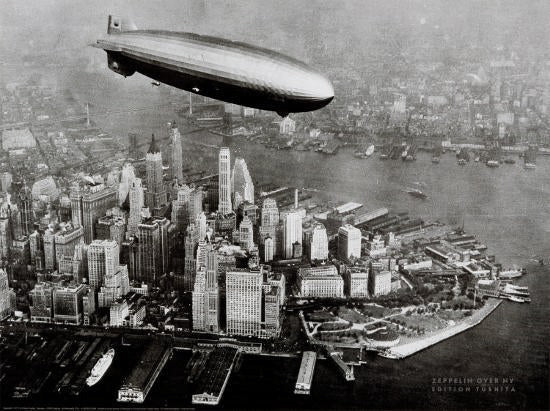 The Zeppelin LZ129 Hindenburg Airship Flying over Manhattan, New York 1936 Poster - Tushita Editions