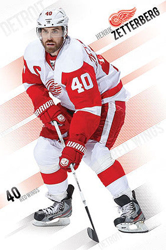"Henrik Zetterberg ""Superstar"" Detroit Red Wings NHL Action Poster - Costacos 2013"