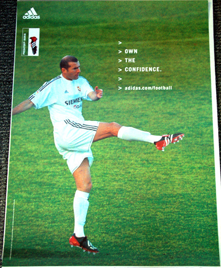 "Zinedine Zidane ""Own the Confidence"" Real Madrid CD Poster - Adidas 2003"