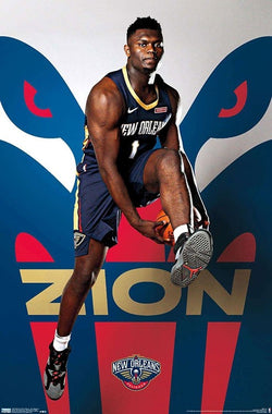 "Zion Williamson ""Rising"" New Orleans Pelicans NBA Basketball Action Poster - Trends 2019"