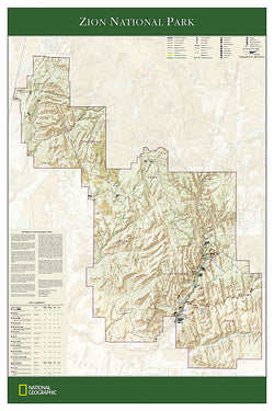 Zion National Park National Geographic 24x36 Wall Map Poster - NG Maps