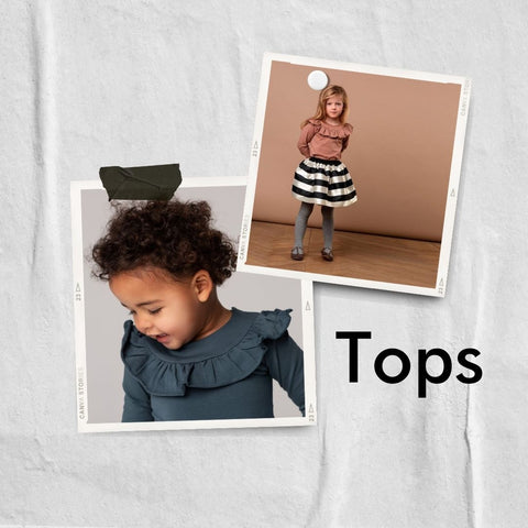 Polaroid collage of tops for girls from MarMar Copenhagen