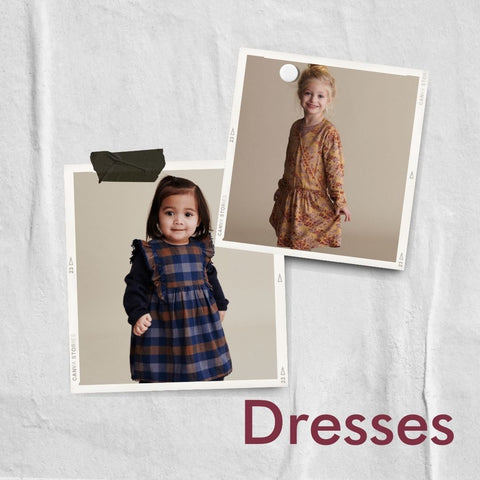 Polaroid collage of dresses for girls from Mini A Ture