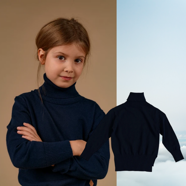EBBE navy winter roll neck jumper for girls