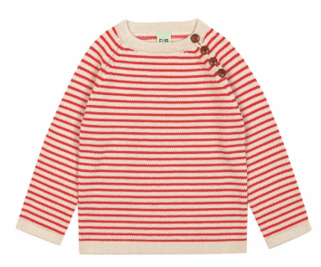 FUB wool striped jumper in ecru and red