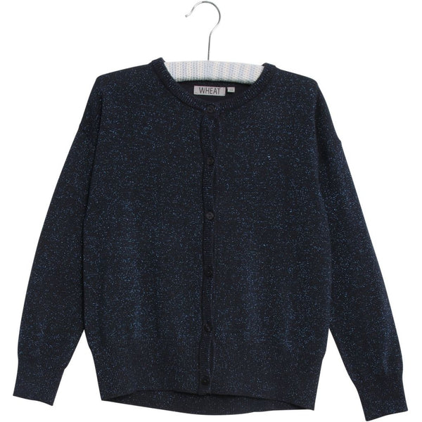 Wheat knit cardigan Dora in grey blue