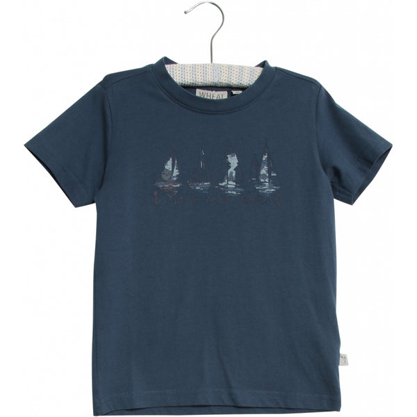 Wheat t-shirt Ships in blue denim