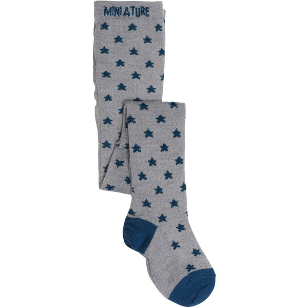 MINI A TURE tights in light grey with blue stars