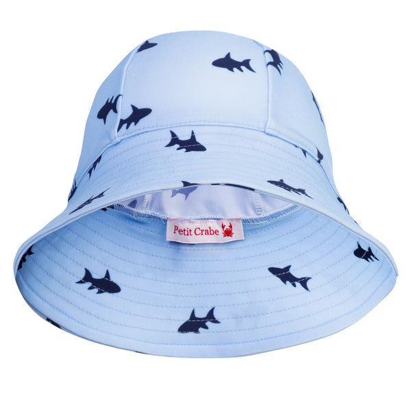 Petit Crabe swim hat Frey in blue fish