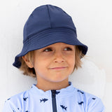 Petit Crabe swim hat Frey in blue