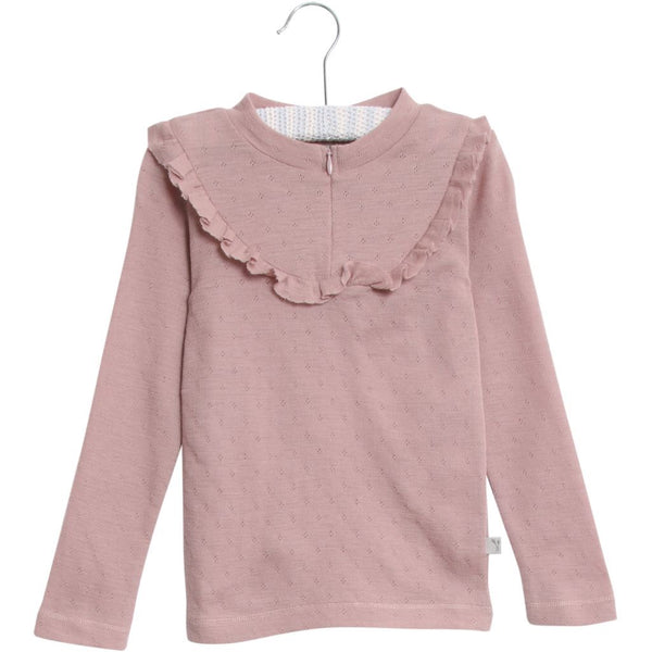 Wheat merino wool top with ruffle in pink