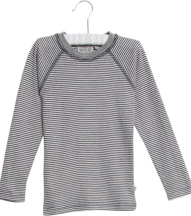 Wheat merino wool long sleeve t-shirt in navy stripes