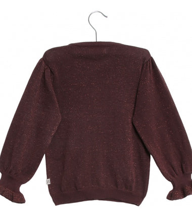 Wheat knit cardigan Mejse in burgundy