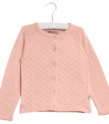 Wheat knit cardigan Maja in misty rose
