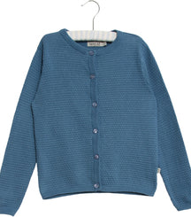 Wheat knit cardigan Manuela in blue