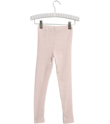 Wheat merino wool leggings in pink stripes