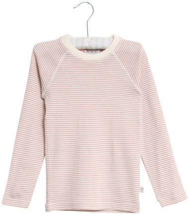 Wheat merino wool long sleeve t-shirt in pink stripes