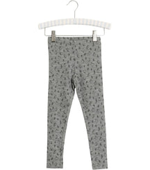 Wheat merino wool leggings in melange grey with penguin print