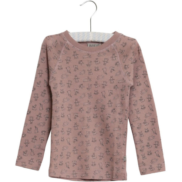 Wheat merino wool t-shirt in fawn with bunny print