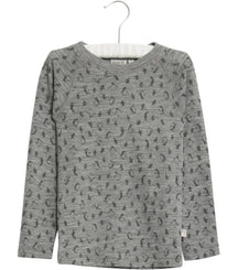 Wheat merino wool t-shirt in melange grey with penguin print