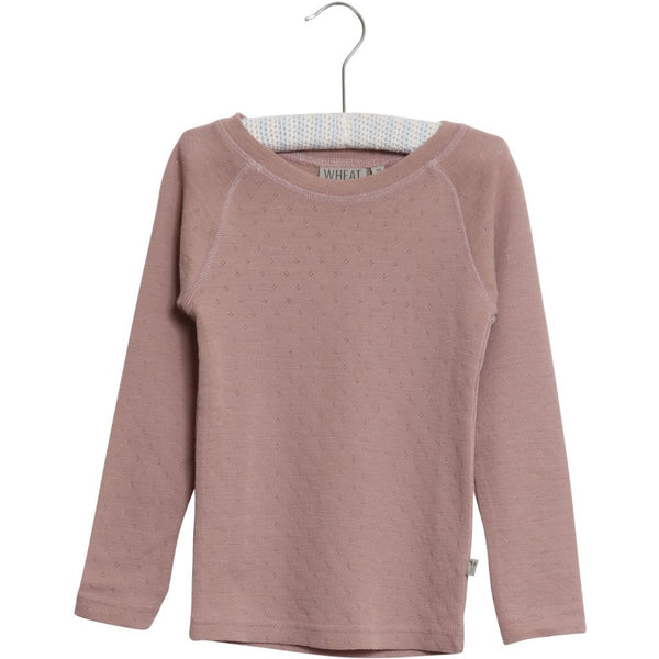 Wheat merino wool t-shirt in fawn pink