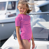 Petit Crabe boat neck Luna short sleeve swim shirt in amaranth and white