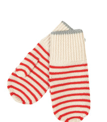 FUB mittens in ecru and red