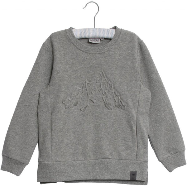 Wheat sweat embossed Mountains in melange grey