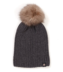 Huttelihut hat with pom pom in dark grey