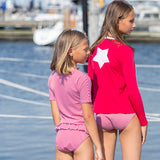 Petit Crabe swimshirt Etoile with zipper in amaranth