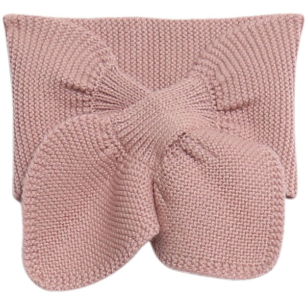 Wheat knitted baby scarf in rose powder