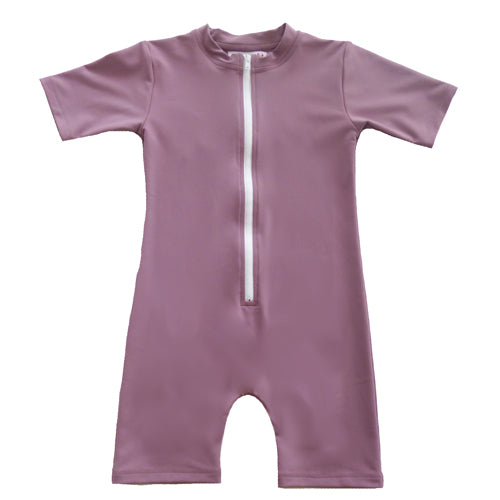 Petit Crabe bodysuit in heather with short sleeves