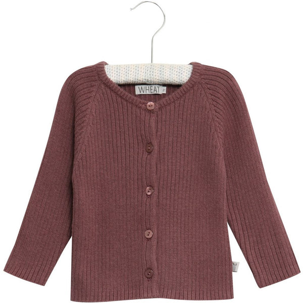 Wheat rib knit cardigan in dark lavender