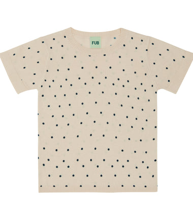 FUB knitted t-shirt in ecru with navy dots