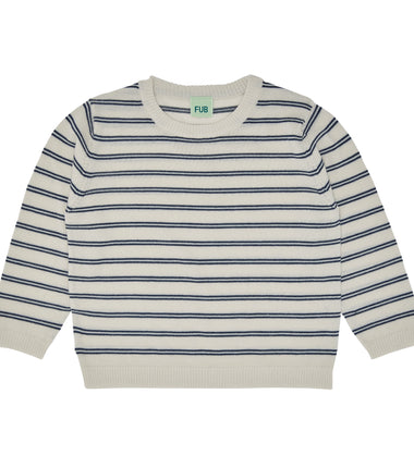 FUB oversized sweater with ecru and navy stripes