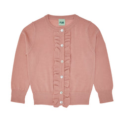 FUB ruffle cardigan in blush pink