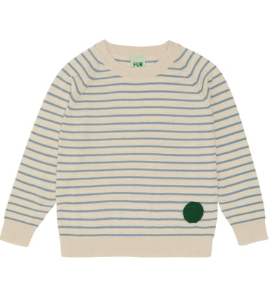FUB cotton knitted sweater in ecru and blue