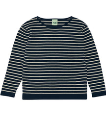 FUB cotton knit sweater in navy and ecru
