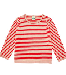 FUB cotton knit sweater in blush and red