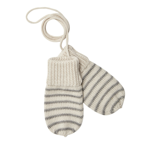 FUB baby mittens in grey and ecru