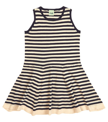 FUB striped dress in navy and ecru