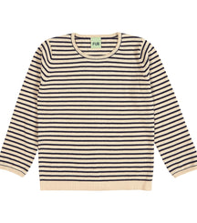 Fub cotton knit jumper in ecru and navy
