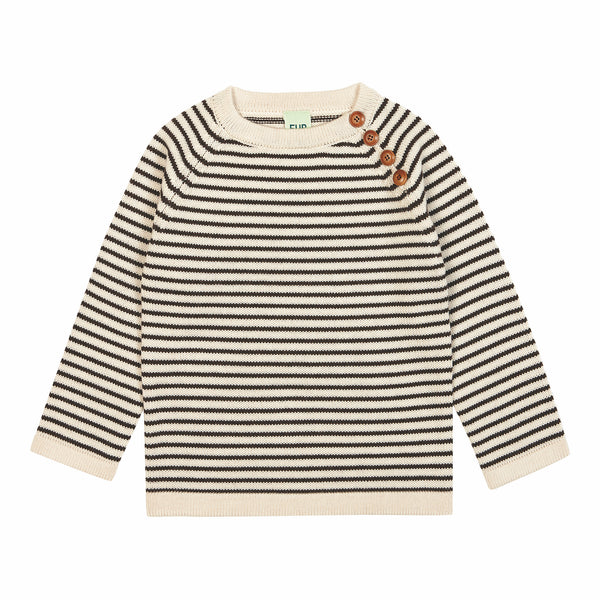 FUB wool striped jumper in ecru and brown