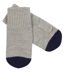 FUB mittens in light grey with navy top
