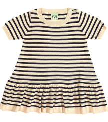 FUB striped baby dress in ecru and navy